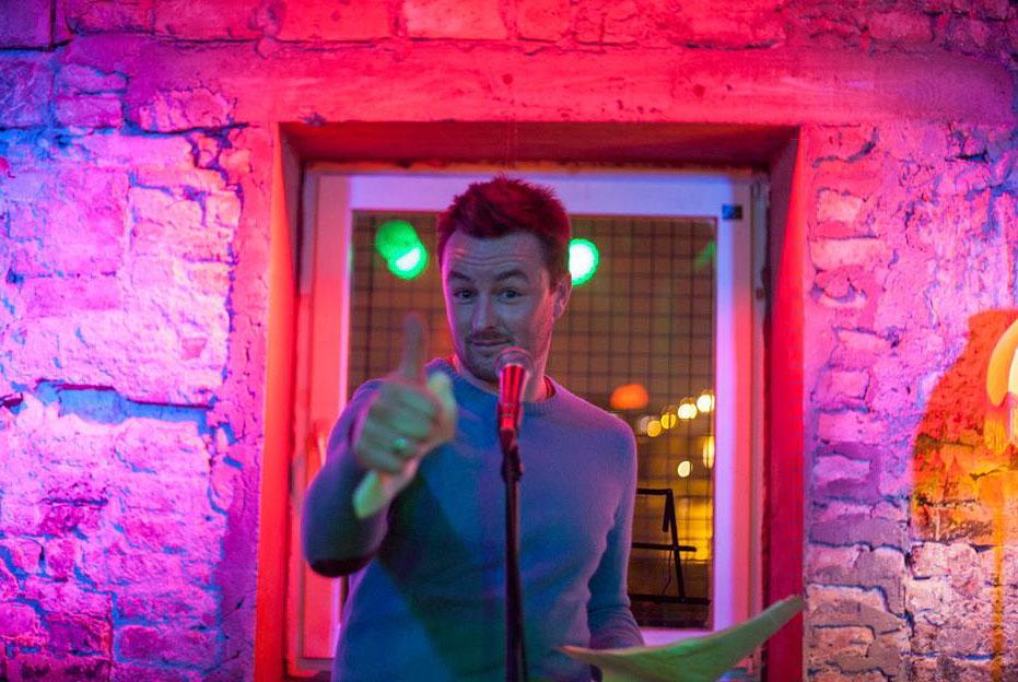 Stephen Donegan on stage at the Belgrade Story Club. Photo: Predrag Todorović / Story Club Belgrade