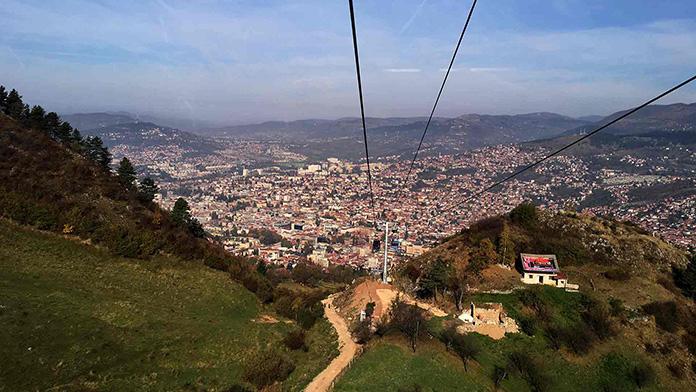A gondola rides up Trebević